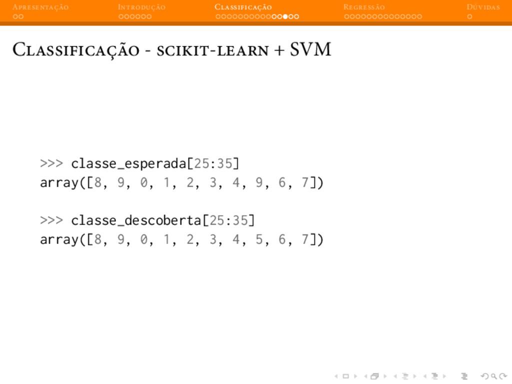 A I C R D C - - + SVM >>> classe_esperada[25:35...