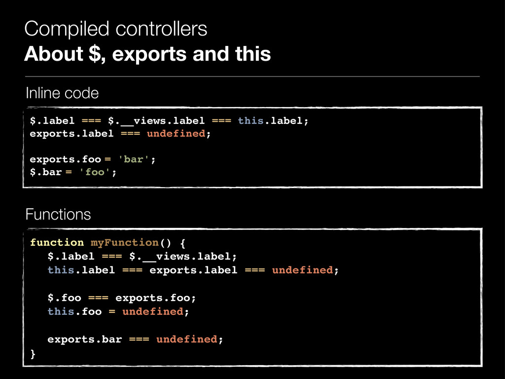 Compiled controllers About $, exports and this ...