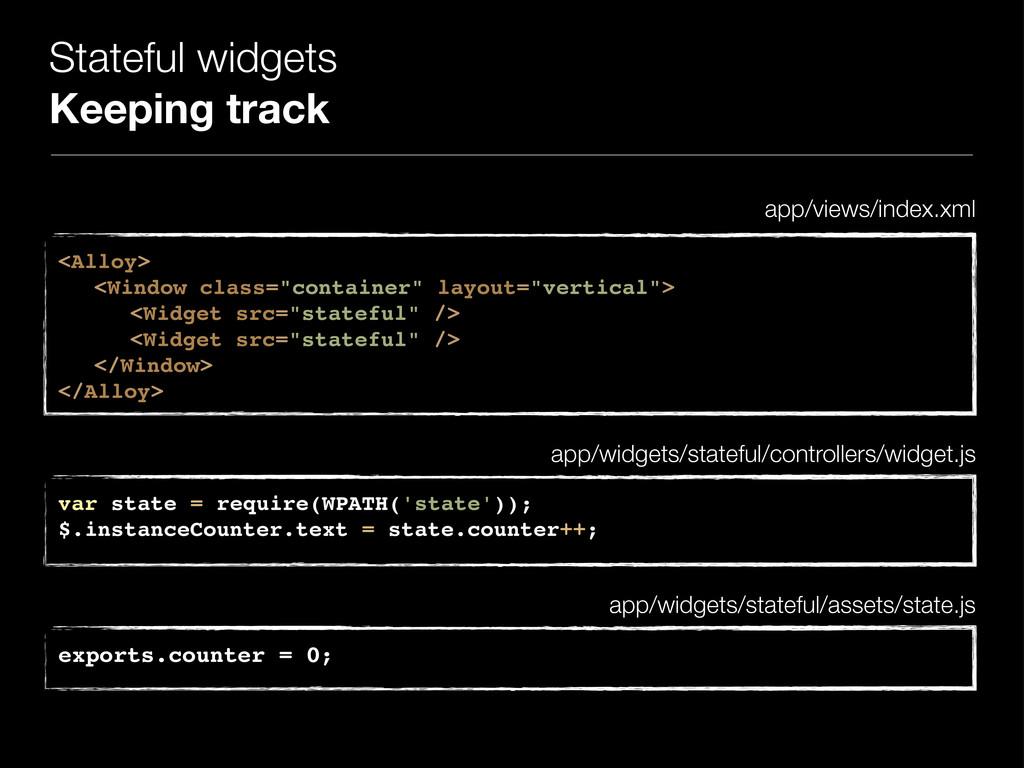 Stateful widgets Keeping track <Alloy> ! <Windo...