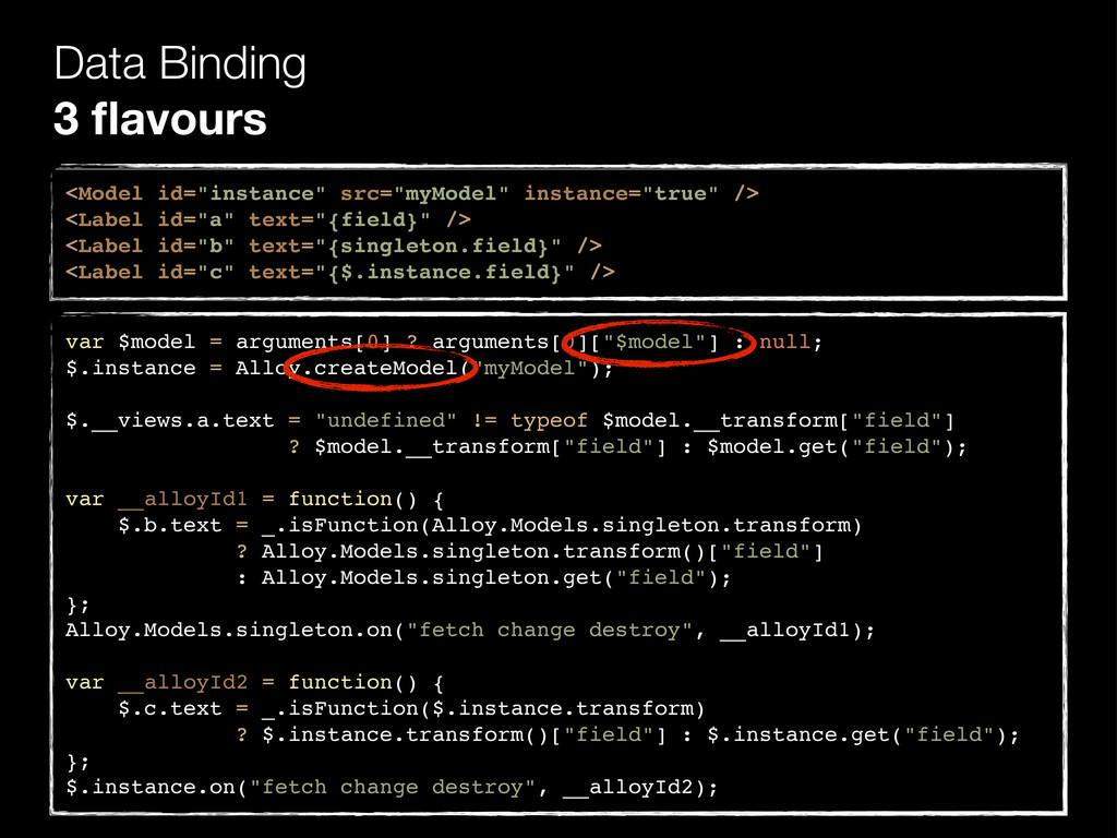 "Data Binding 3 flavours <Model id=""instance"" src..."