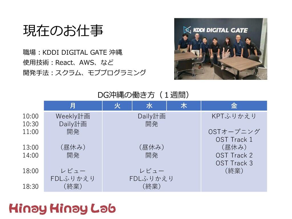 現在のお仕事 職場:KDDI DIGITAL GATE 沖縄 使用技術:React、AWS、な...