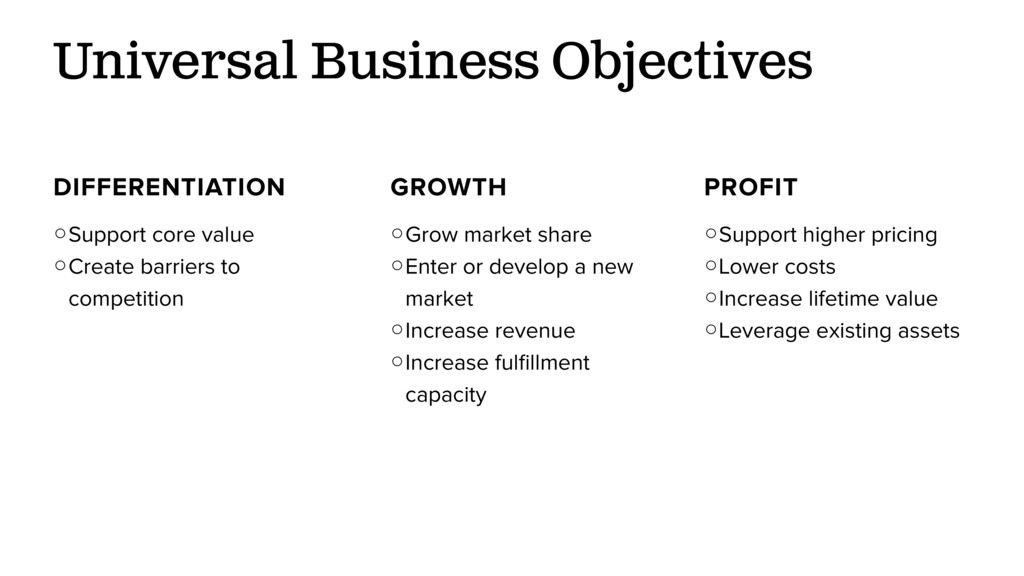Universal Business Objectives DIFFERENTIATION ○...