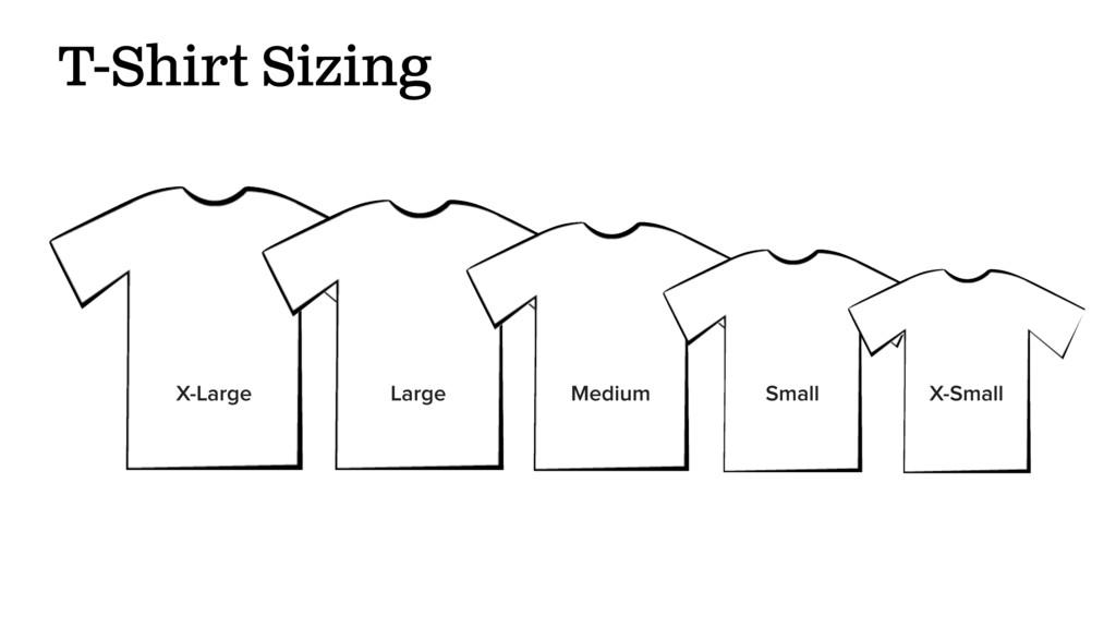 T-Shirt Sizing X-Large Large Medium Small X-Sma...