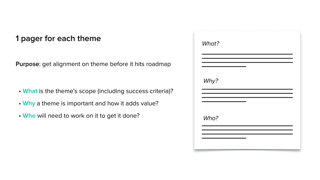 1 pager for each theme What? Why? Who? Purpose:...