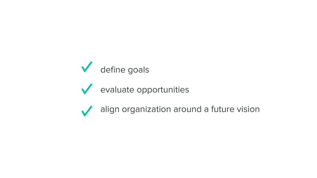 evaluate opportunities define goals align organi...