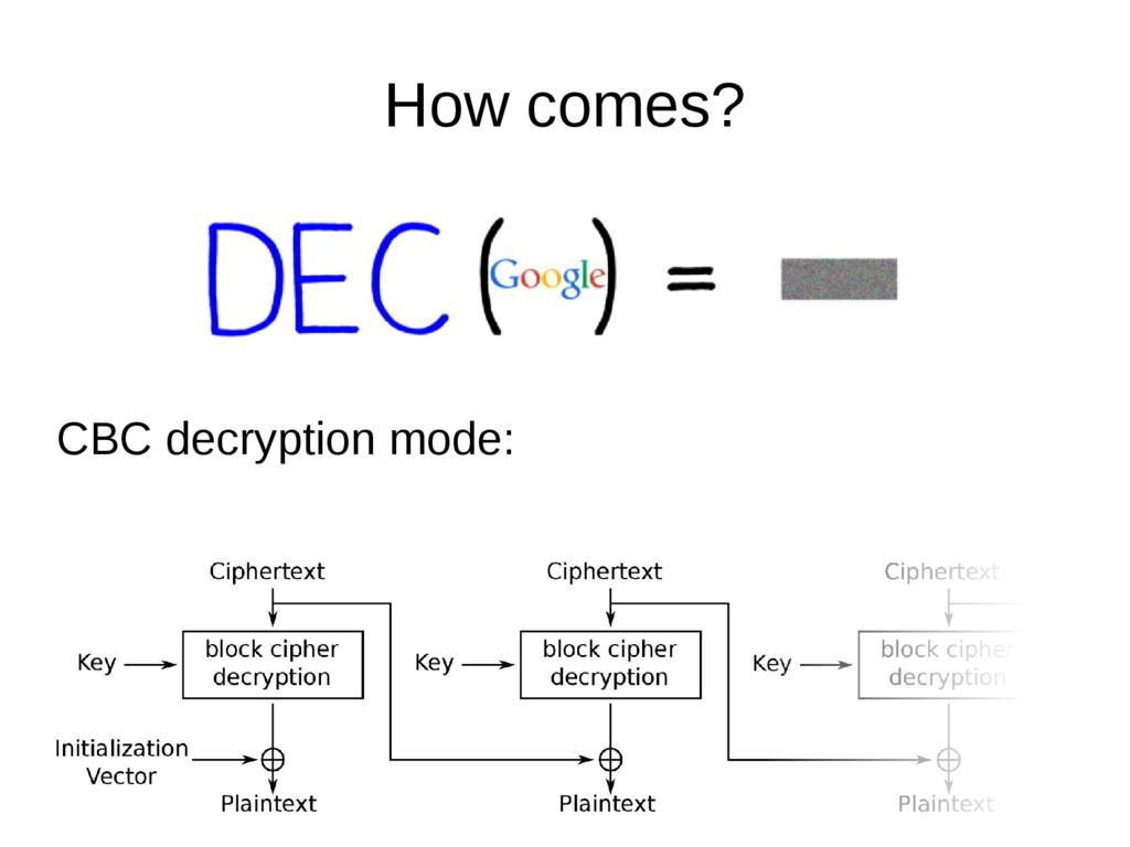How comes? CBC decryption mode: