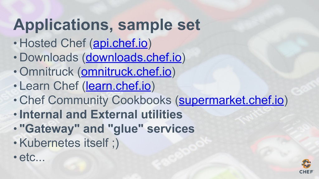 Applications, sample set • Hosted Chef (api.che...