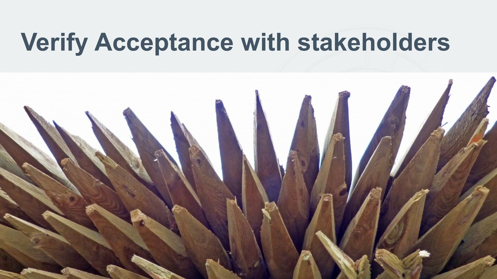 Verify Acceptance with stakeholders