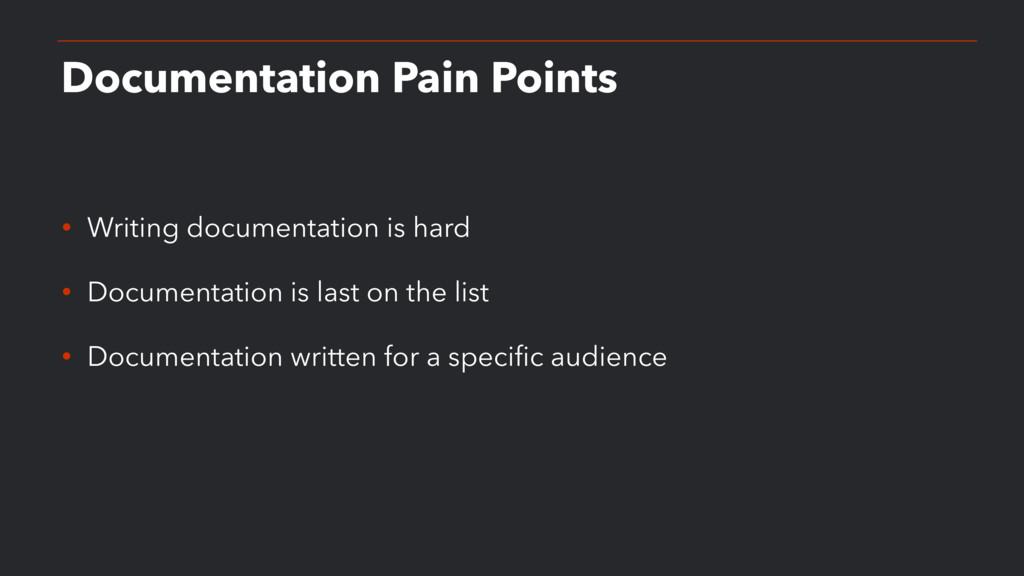 Documentation Pain Points • Writing documentati...