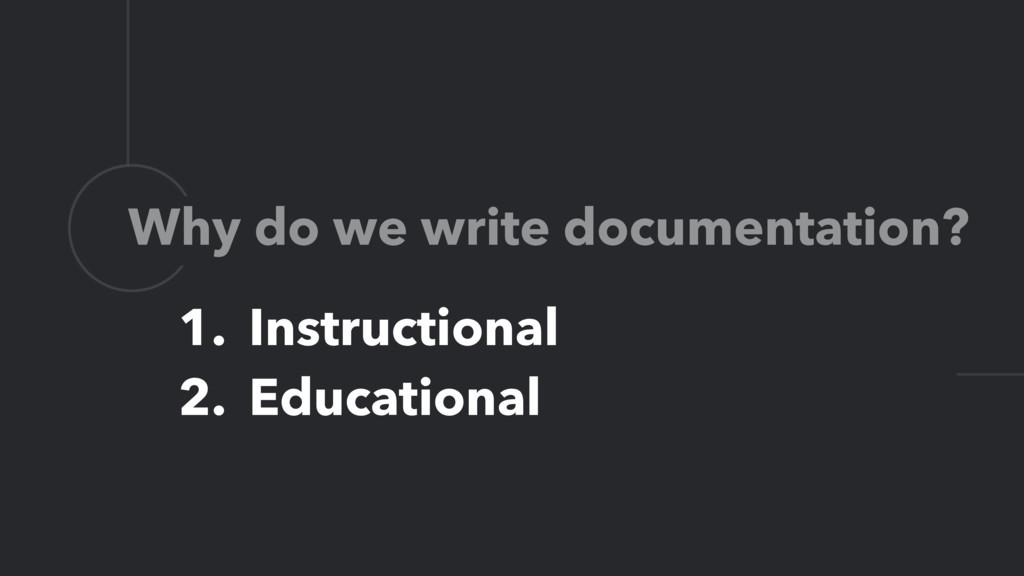 L Why do we write documentation? 1. Instruction...