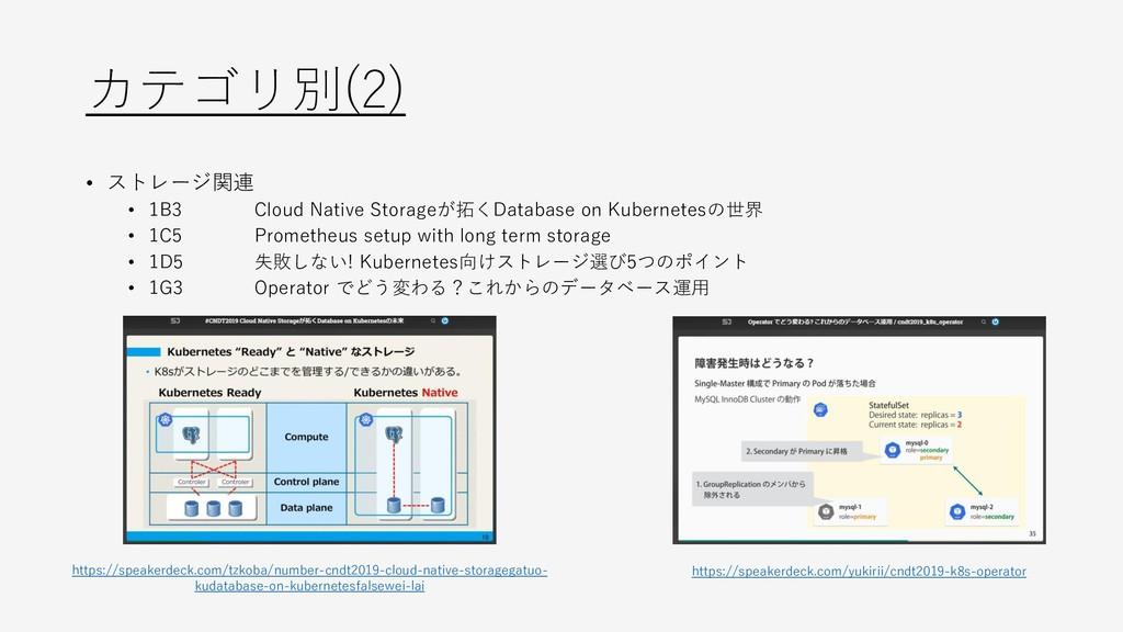 カテゴリ別(2) • ストレージ関連 • 1B3 Cloud Native Storageが拓...