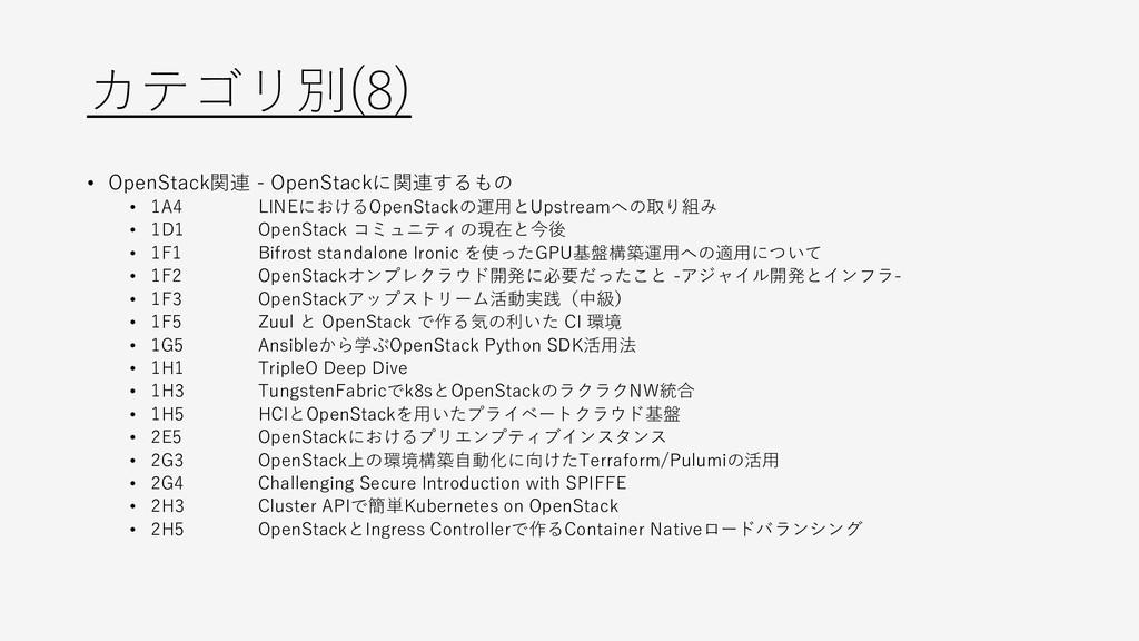 カテゴリ別(8) • OpenStack関連 - OpenStackに関連するもの • 1A4...