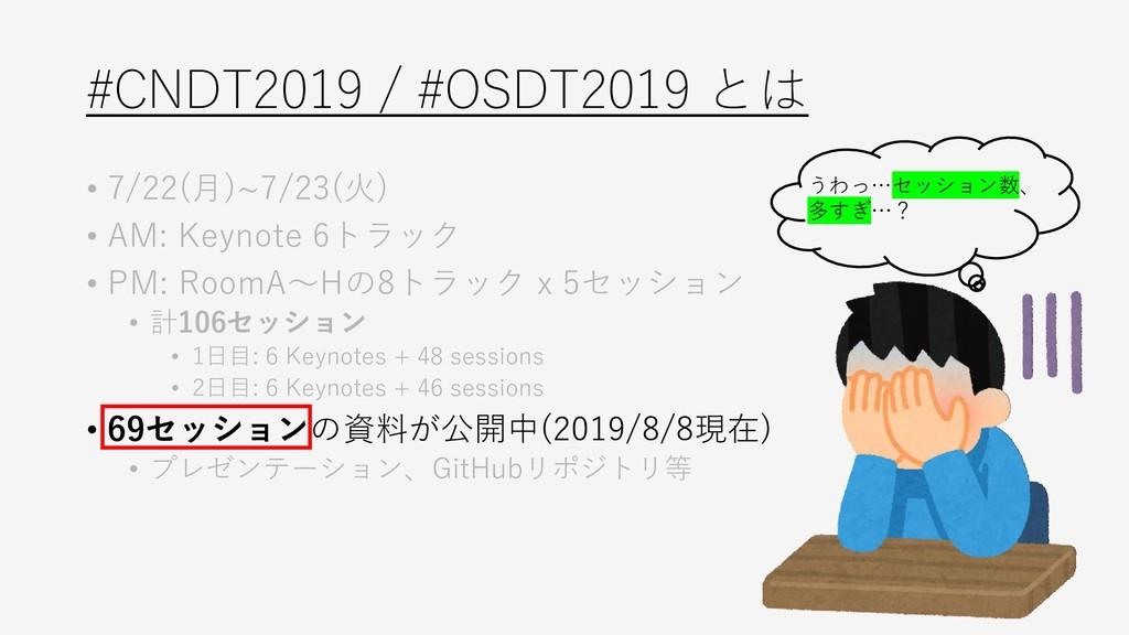 #CNDT2019 / #OSDT2019 とは • 7/22(月)~7/23(火) • AM...