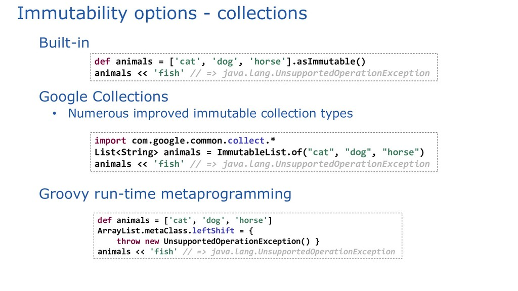 Immutability options - collections Built-in Goo...