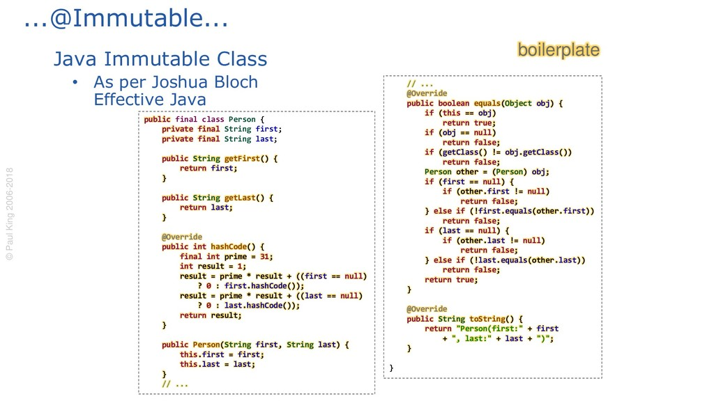 ...@Immutable... Java Immutable Class • As per ...