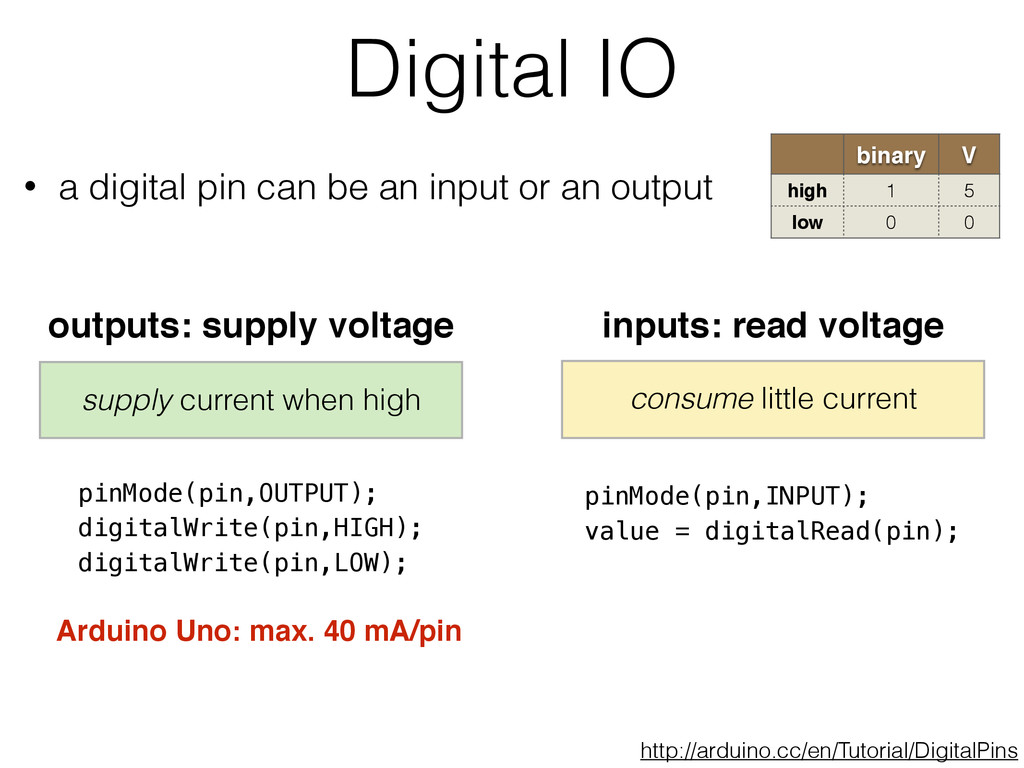 Digital IO binary V high 1 5 low 0 0 • a digita...