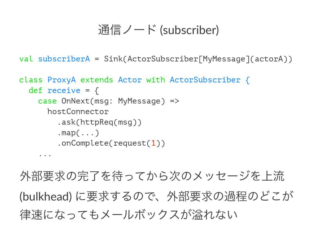 ௨৴ϊʔυ (subscriber) val subscriberA = Sink(Actor...