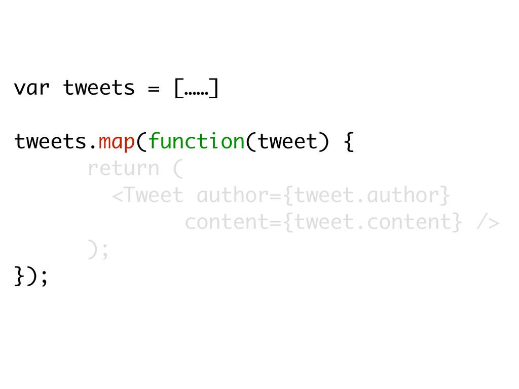 var tweets = [……] tweets.map(function(tweet) { ...