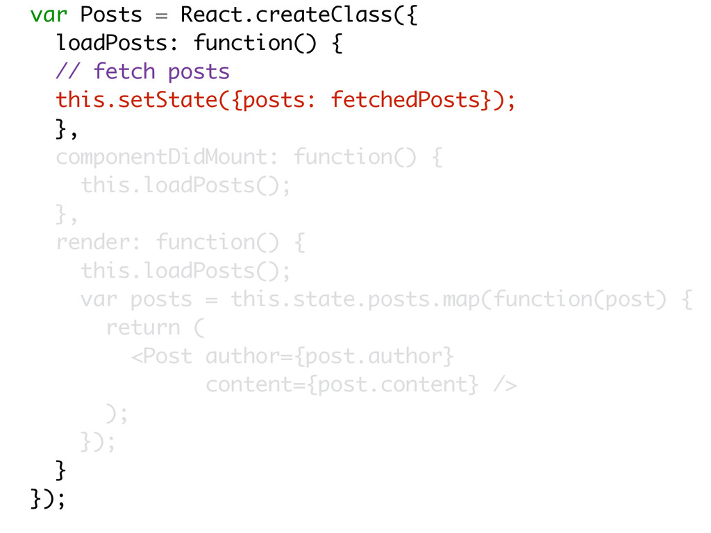 var Posts = React.createClass({ loadPosts: func...
