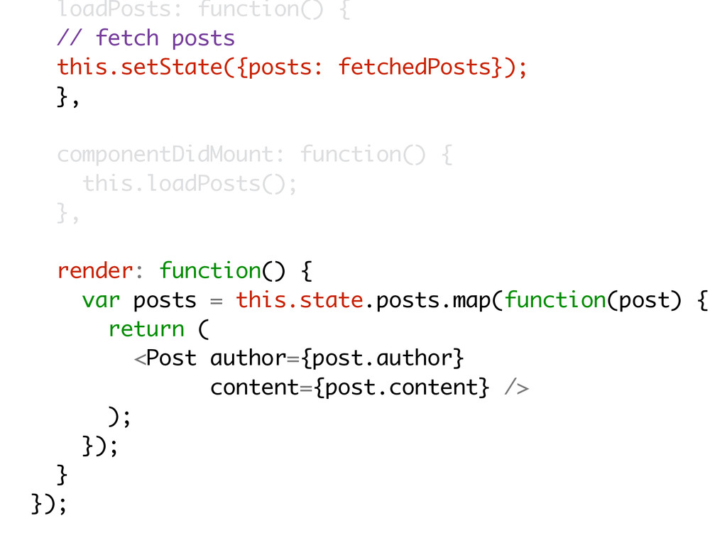 loadPosts: function() { // fetch posts this.set...