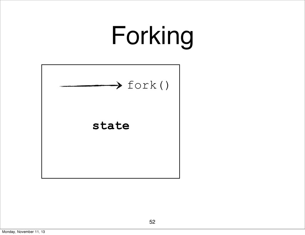 Forking 52 fork() state Monday, November 11, 13