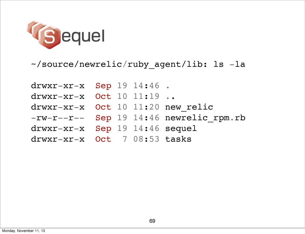 69 ~/source/newrelic/ruby_agent/lib: ls -la drw...