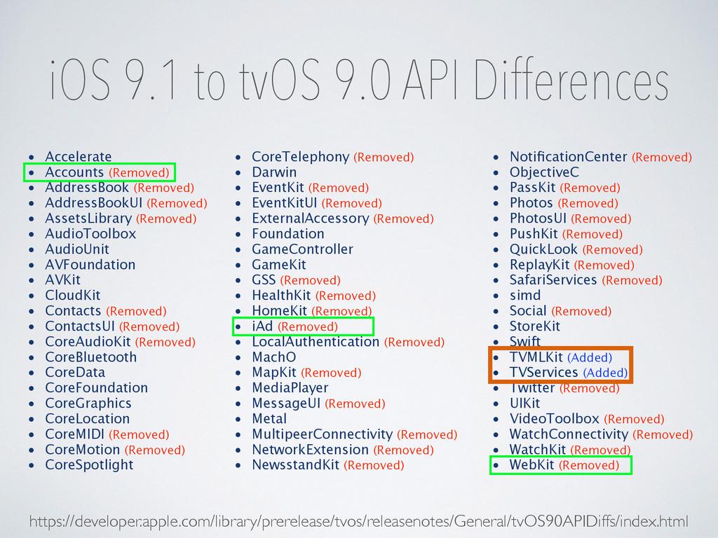 iOS 9.1 to tvOS 9.0 API Differences https://dev...