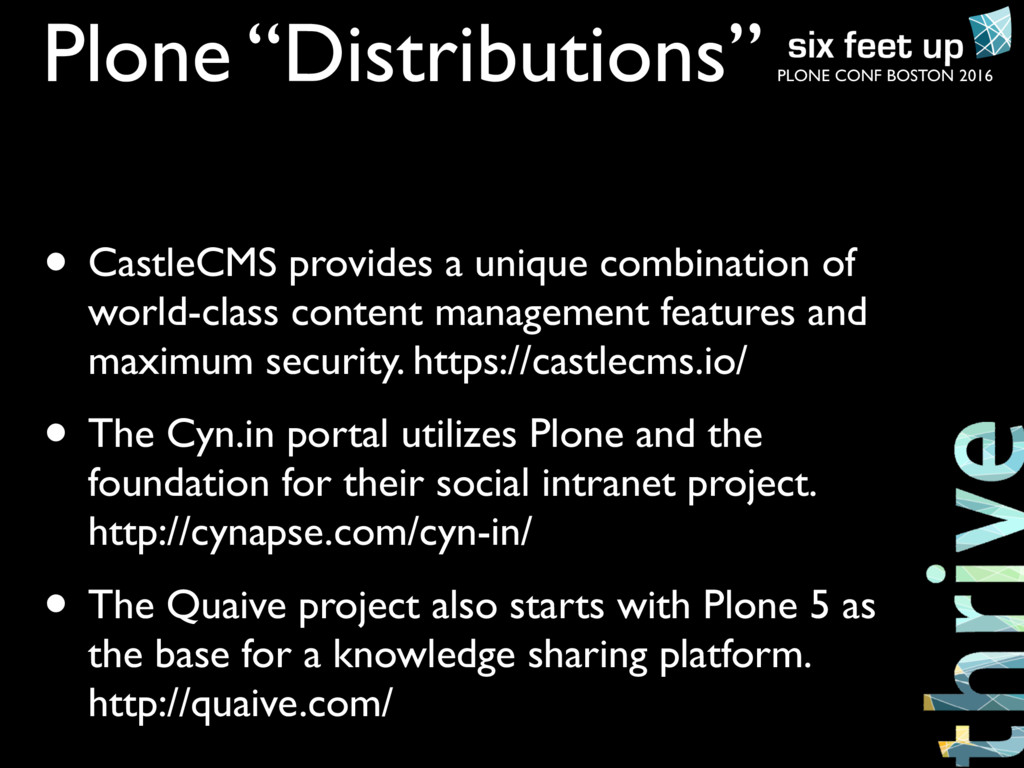 """PLONE CONF BOSTON 2016 Plone """"Distributions"""" • ..."""