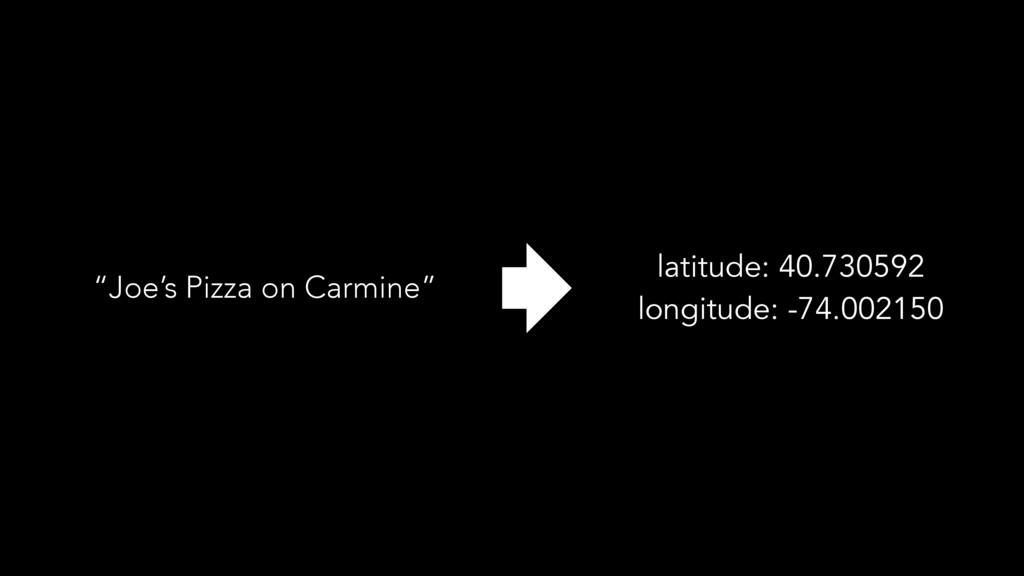 """Joe's Pizza on Carmine"" latitude: 40.730592 lo..."