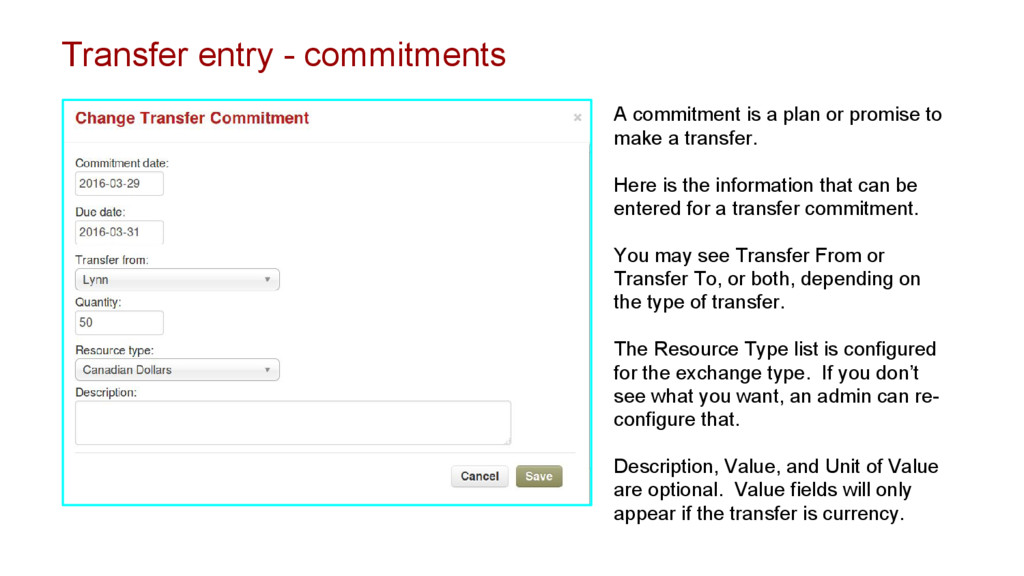 Transfer entry - commitments A commitment is a ...