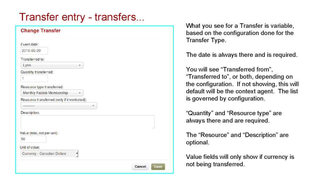 Transfer entry - transfers... What you see for ...