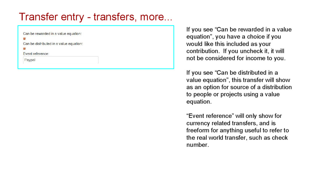 Transfer entry - transfers, more... If you see ...