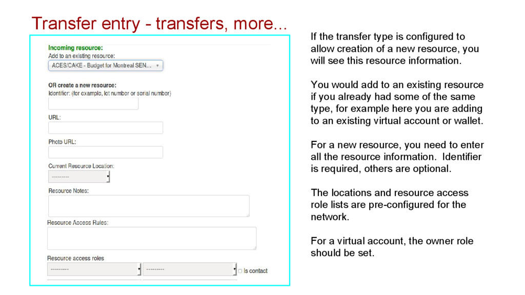 Transfer entry - transfers, more... If the tran...