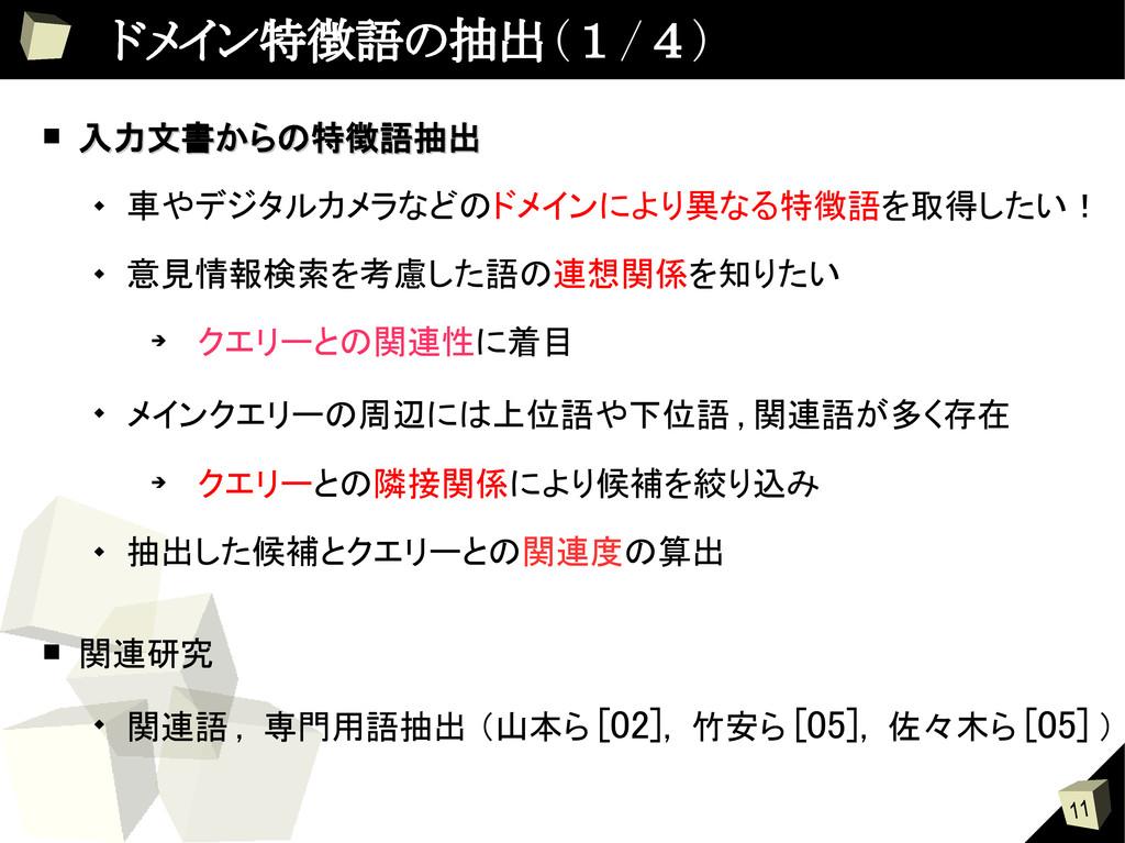 11  ドメイン特徴語の抽出 ( 1 / 4 ) ■ 入力文書からの特徴語抽出 入力文書からの...