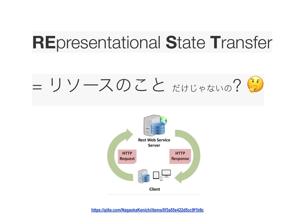 REpresentational State Transfer  = Ϧιʔεͷ͜ͱ ͚ͩ...