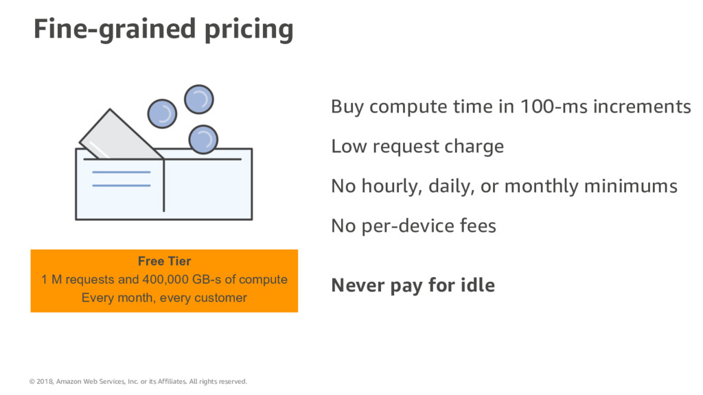 Fine-grained pricing Buy compute time in 100-ms...