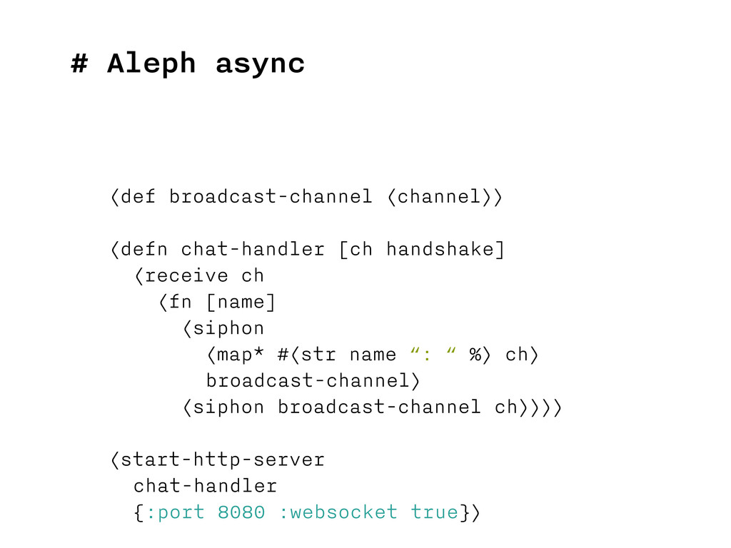 # Aleph async (def broadcast-channel (channel))...
