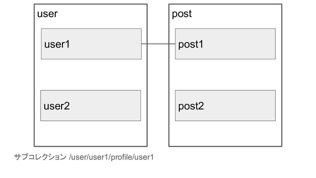 サブコレクション /user/user1/profile/user1 user user1 u...