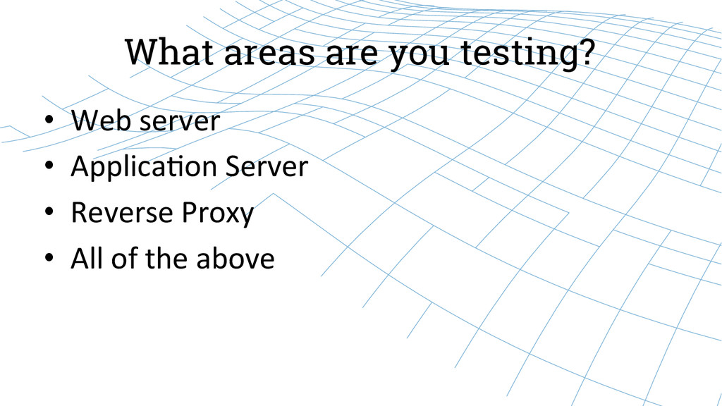 What areas are you testing? • Web server ...