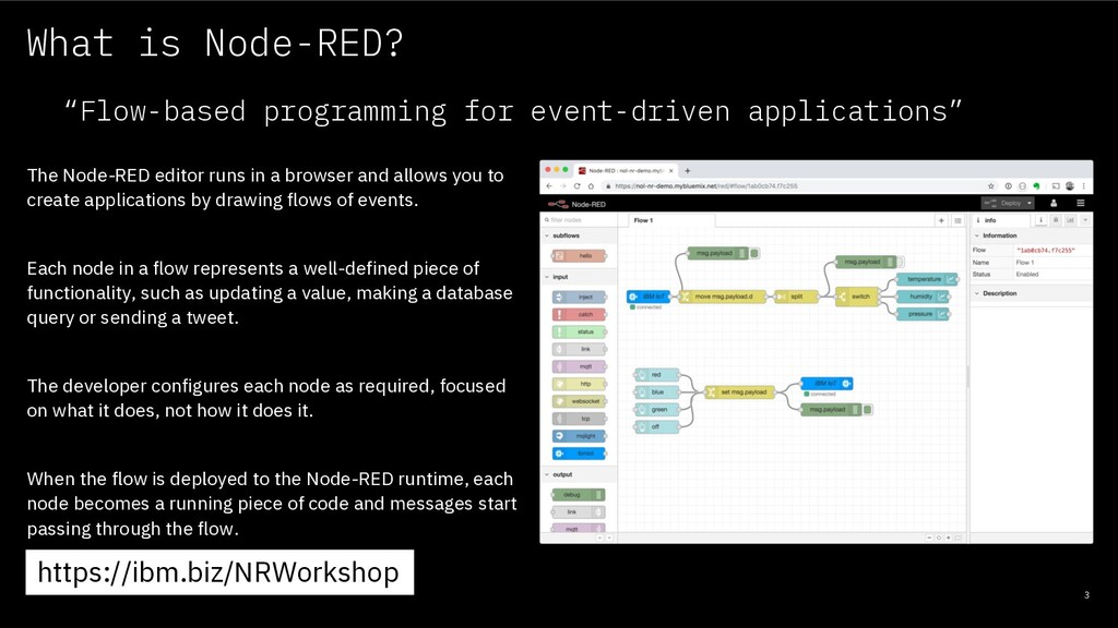 What is Node-RED? 3 The Node-RED editor runs in...
