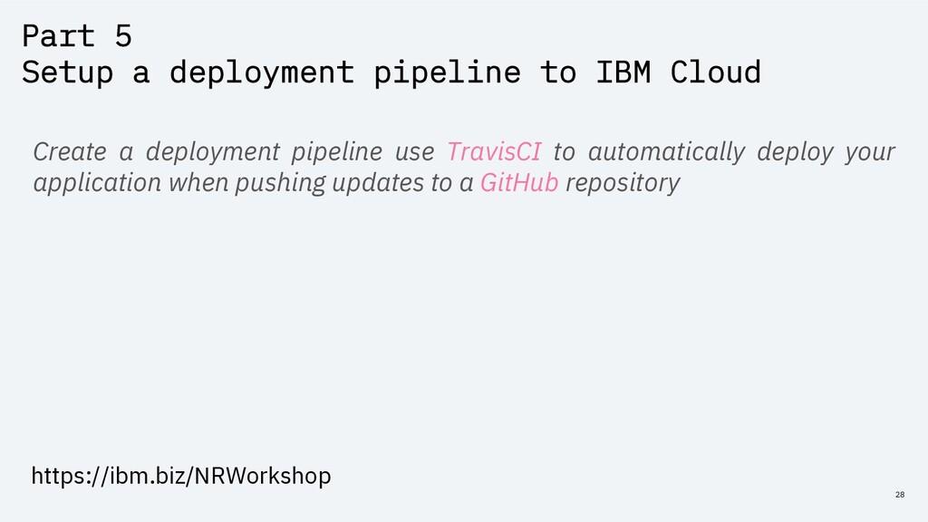 Part 5 Setup a deployment pipeline to IBM Cloud...