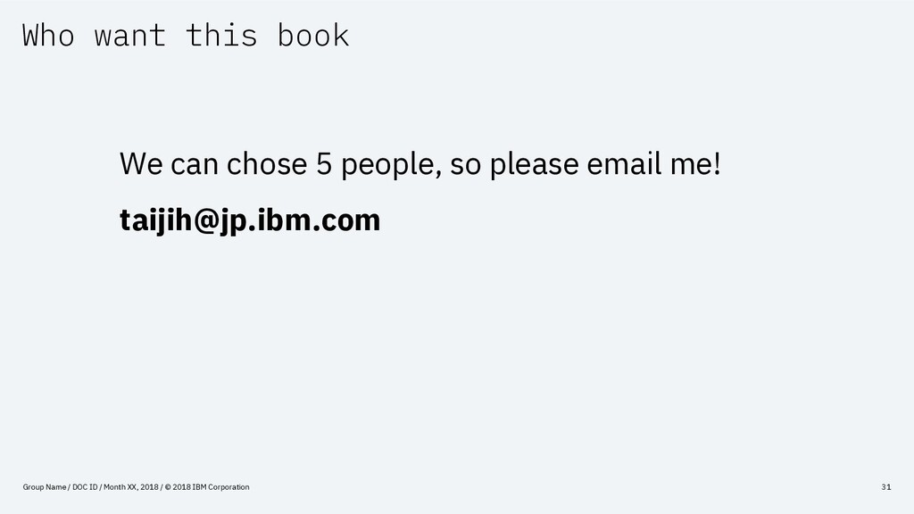 Who want this book Group Name / DOC ID / Month ...