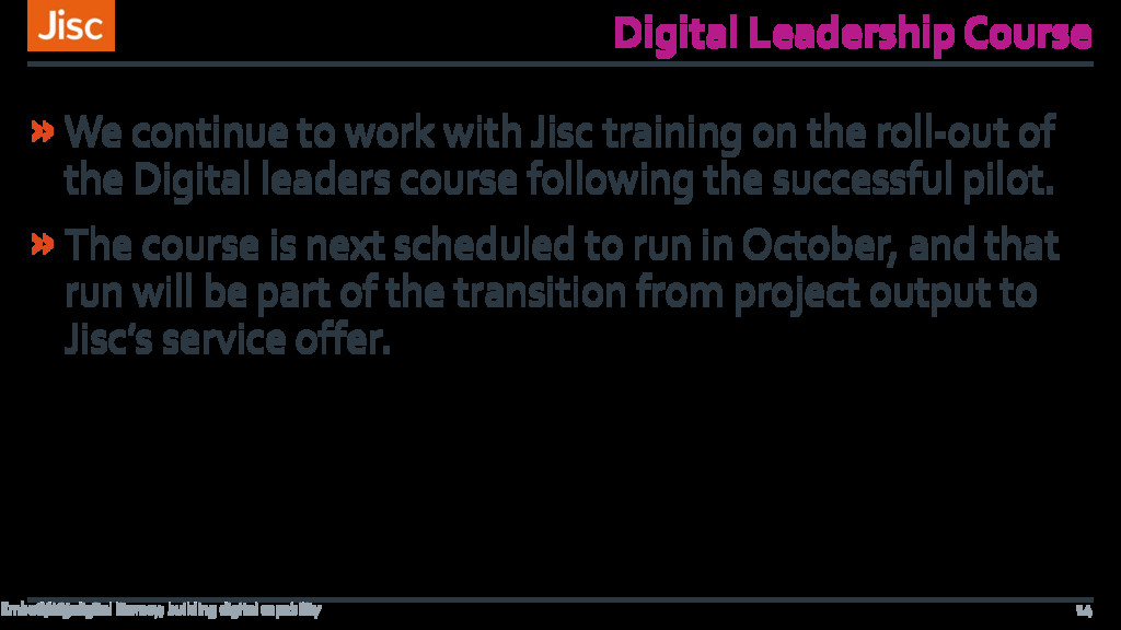 Digital Leadership Course »We continue to work ...