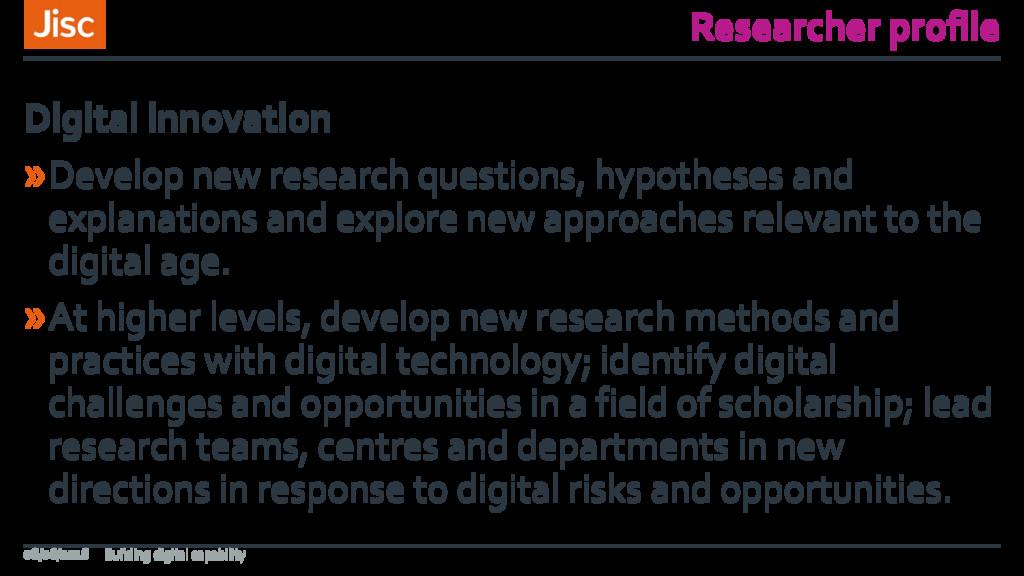 Researcher profile »Develop new research questi...