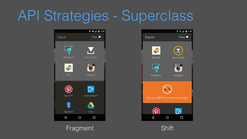 API Strategies - Superclass Fragment Shift