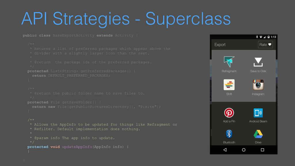 API Strategies - Superclass public class BaseEx...