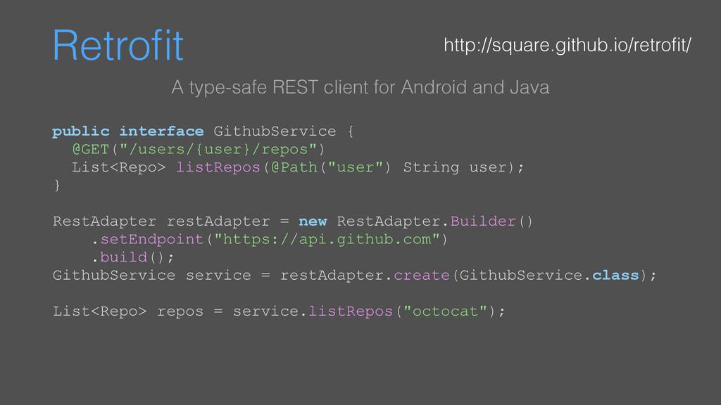 """Retrofit public interface GithubService { @GET(""""..."""