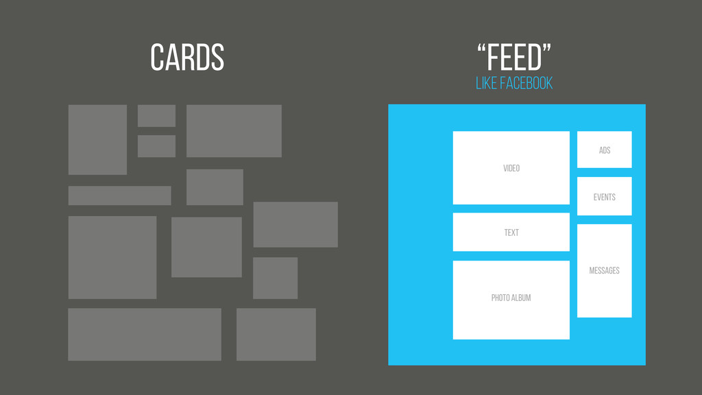 """Cards Like Facebook """"feed"""" Video Text Photo Alb..."""