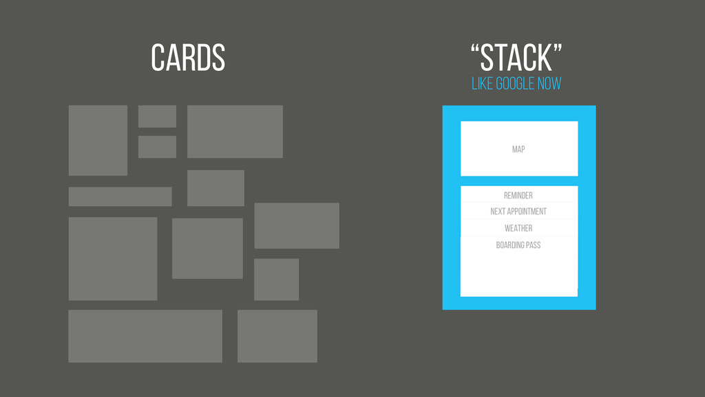 """Cards Like Google Now """"Stack"""" Map BOARDING PASS..."""