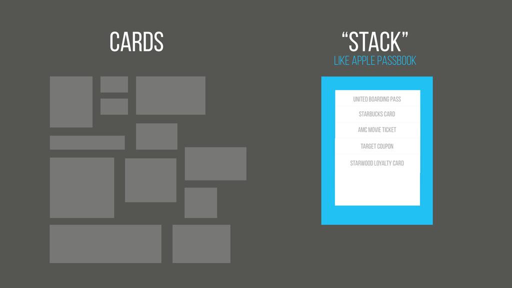 "Cards Like Apple Passbook ""Stack"" United BOARDI..."